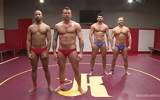 Gay wrestling championship with four muscular dudes with fat cocks