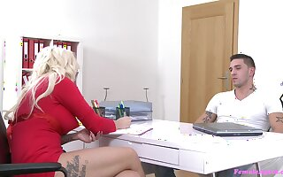 Blonde casting agent Jarushka Ross sucks and gets fucked by a fat dick