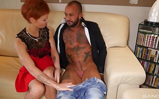 Tattooed Mariskax sits on a stranger's fat shaft with her tiny cunt