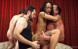 Crazy gangbang shit for the ebony whore with small tits