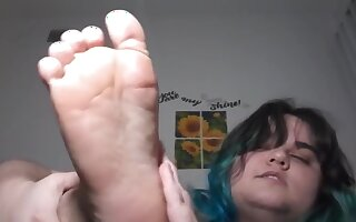 Sexy Hairy Stretching Armpits and Feet after Shower