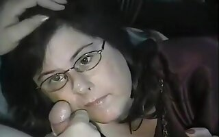 cumming on her face and glasses
