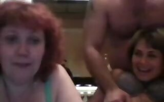 Russian three-some party - two matures and 1 guy