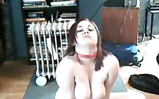 Chubby ponytailed girl plays with her big boobs and masturbates with a dildo