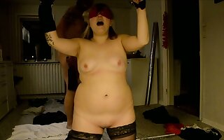 Submissive blonde chubby wife gets her portion of kinky BDSM today