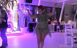 Fat amateur dancing and pissing