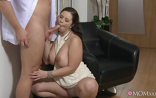 Chubby wife throats dick together with fucks like a real pro