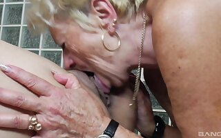 Old vs young lesbian sheet with twosome amateur landowners who love pussy