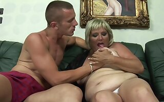 Granny takes her dose of pleasure form burnish apply nephew
