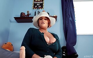 Super juggy BBW Annabelle Rogers is bringing off with dildo instead of church service
