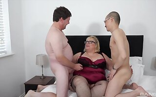 Chubby exasperation aged sprog fucked hard by her man and their nephew